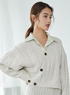 V-neck Asymmetric Pure Color Short Cardigan