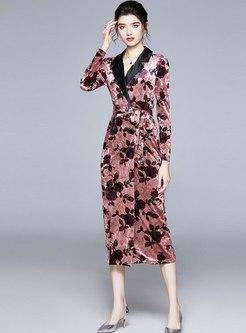 Notched Collar Velvet Printed Midi Dress