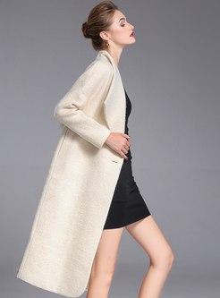 White Lapel Long Sleeve Wool Overcoat