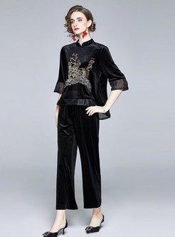 Mock Neck 3/4 Sleeve Velvet Pant Suits