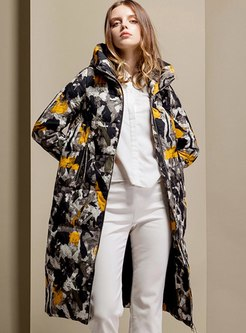 Hooded Camouflage Print Puffer Coat