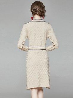 Crew Neck Color Block A Line Sweater Dress