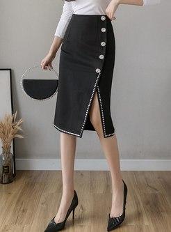 High Waisted Beaded Split Pencil Skirt