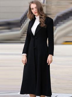 Lapel Wool Blend Straight Long A Line Overcoat
