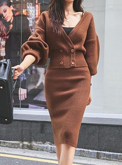 V-neck Lantern Sleeve Bodycon Skirt Suits
