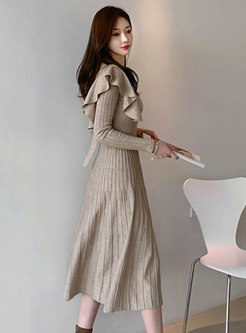 Long Sleeve Ruffle A Line Knitted Dress