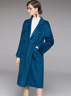 Lapel Long Sleeve Below Knee Wool Peacoat