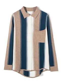 Color-blocked Turn Down Collar Wool Cardigan