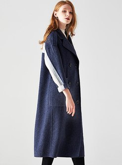 Color-blocked Lapel Double-breasted Long Peacoat