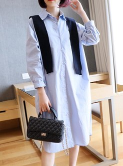 Long Sleeve Single-breasted Shift Shirt Dress