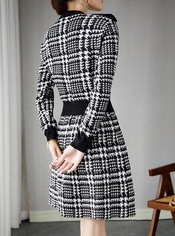 V-neck Plaid A Line Sweater Dress