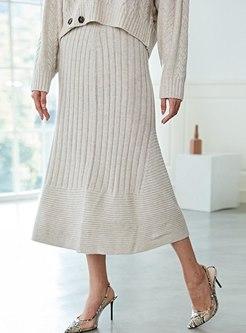 High Waisted A Line Knitted Skirt