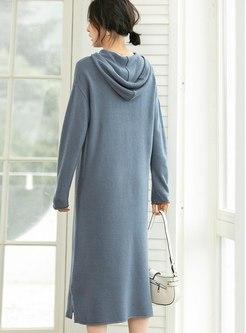 Hooded Drawstring Shift Midi Sweater Dress