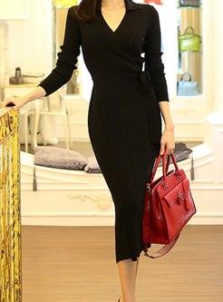 Long Sleeve V-neck Sheath Sweater Dress