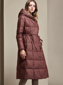 Hooded Drawstring A Line Puffer Coat
