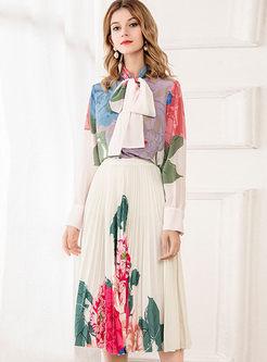 Print A Line Pleated Midi Skirt