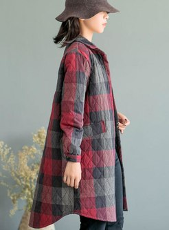 Plaid Long Sleeve Single-breasted Straight Coat