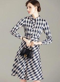 Long Sleeve Plaid A Line Midi Dress