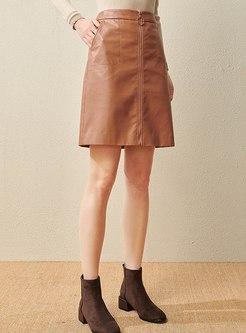High Waisted PU A Line Mini Skirt