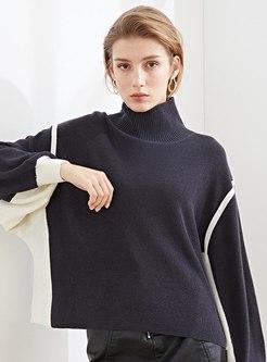 Turtleneck Color-blocked Loose Short Sweater