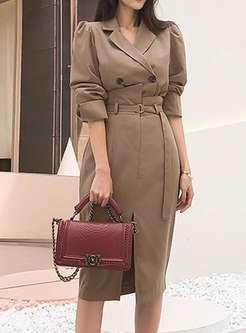 Notched Long Sleeve High Waisted Skirt Suits