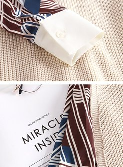 Geometric Print Shirt Dress & Knitted Vest