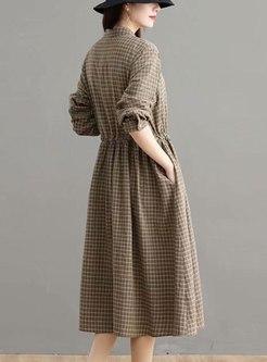 Long Sleeve Plaid Drawstring Midi Dress