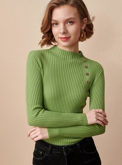 Mock Neck Pullover Slim Long Sleeve Sweater