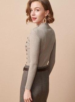 Mock Neck Pullover Slim Long Sleeve Sweater