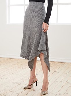 High Waisted A Line Knitted Midi Skirt