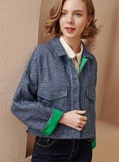 Turn Down Collar Short Wool Blend Coat