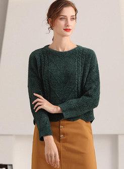 Crew Neck Pullover Pure Color Sweater