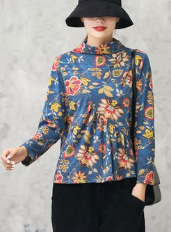 Turtleneck Print Pullover Ruched T-shirt