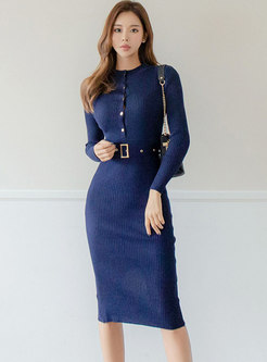 Long Sleeve Belted Split Sheath Knitted Dress