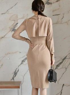 Lapel Sheath Wrap Knee-length Dress