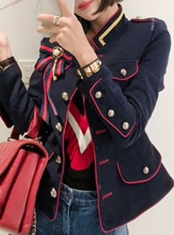Mock Neck Color-blocked Slim Short Coat