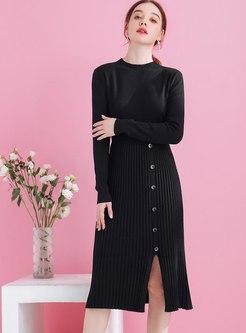 Mock Neck A Line Split Knitted Dress