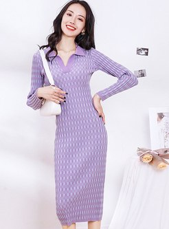 Turn Down Collar Plaid Sheath Sweater Dress