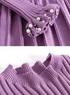 Purple A Line Knitted Dress & Beaded Vest