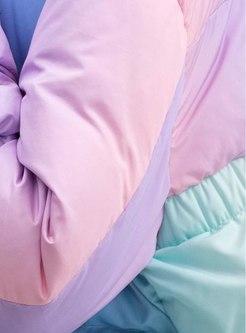 Hooded Color-blocked Short Down Coat