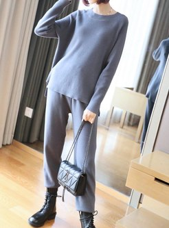 Crew Neck Long Sleeve Knitted Pant Suits
