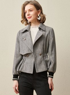 Lapel Houndstooth Elastic Waist Short Coat