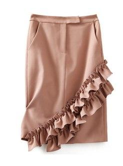 High Waisted Ruffle Bodycon Skirt