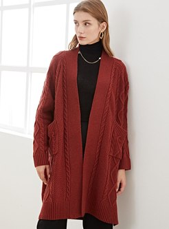 V-neck Knee-length Loose Wool Knitted Coat