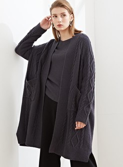 V-neck Knee-length Loose Wool Knitted Coat