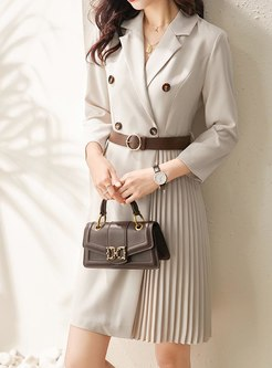Notched Belted Pleated A Line Blazer Dress