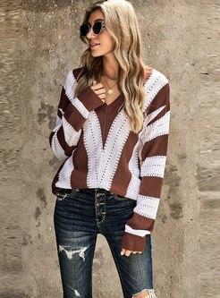 V-neck Striped Pullover Openwork Sweater