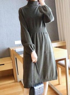 Turtleneck A Line Sweater Dress