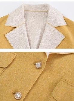 Color-blocked Lapel Loose Short Coat