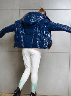 Color-blocked Shine Hooded Short Down Coat